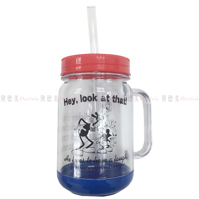 環保吸管杯 迪士尼 米奇 透明杯 環保吸管 AS樹脂 把手 復古米奇 耐熱100度 耐冷-20度 500ML 正版授權 日本製造進口