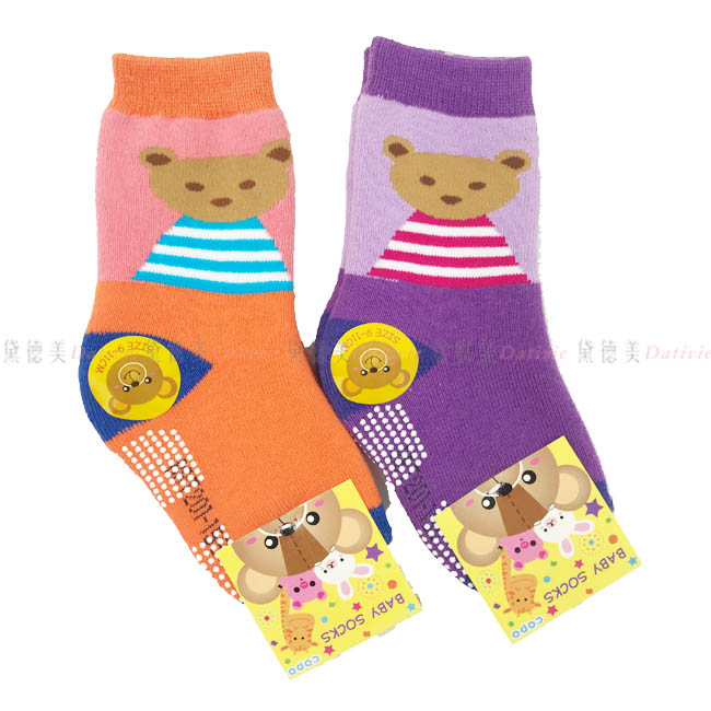 9-11cm 兒童襪 BABY SOCKS 毛巾止滑襪 厚襪 小熊 條紋 橘色 紫色 正版授權
