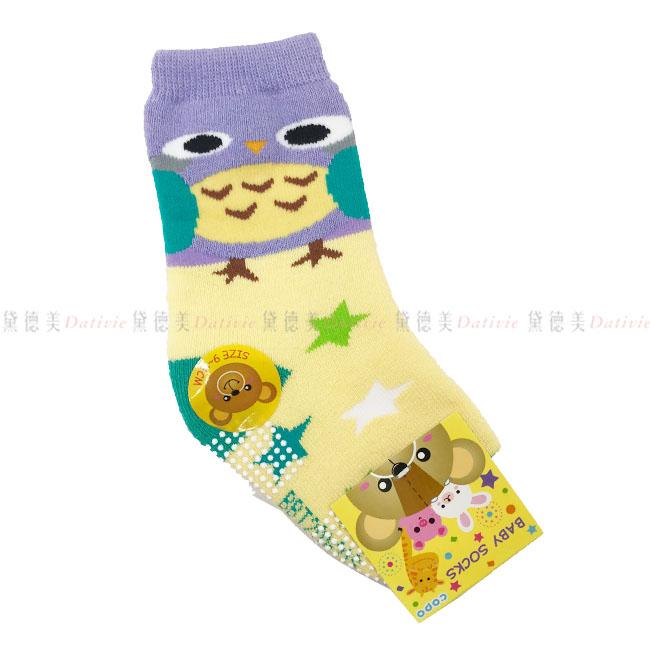 兒童襪 BABY SOCKS 毛巾止滑襪 厚襪 可愛貓頭鷹  星星  黃紫色 9-11cm  12-14cm 正版授權