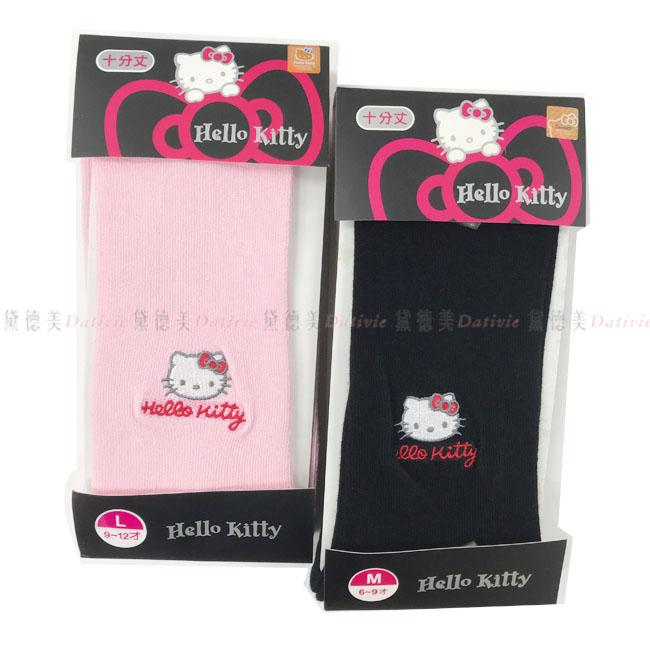 兒童褲襪 三麗鷗 HELLO KITTY 刺繡毛褲襪  保暖 舒適 黑色  粉色  M號6~9歲 L號9~12歲 正版授權
