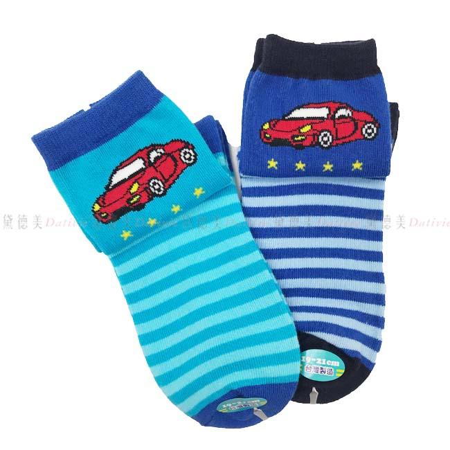 兒童襪 FOR BOYS 男童中統襪 跑車圖案 條紋 淺藍色 深藍色  19~21cm 正版授權