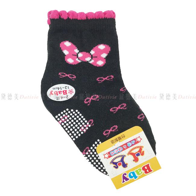 兒童襪  BABY止滑襪 花邊 可愛粉色蝴蝶結 黑色 2~4歲 12~14cm 正版授權