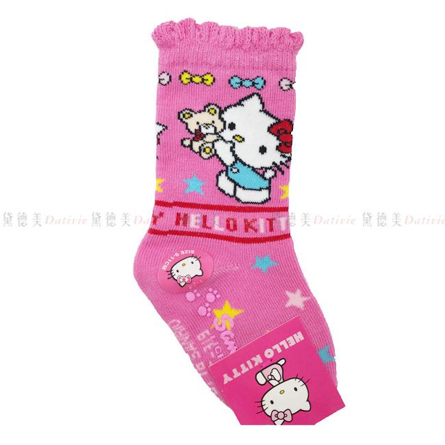兒童長襪 三麗鷗 hello kitty 花邊長襪 小熊 蝴蝶結 星星 粉色 9~11cm 正版授權
