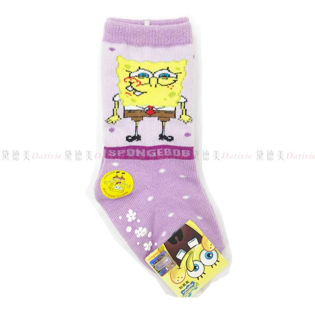 兒童長襪 海綿寶寶長襪 英文字母 點點 紫色 9~11cm 正版授權
