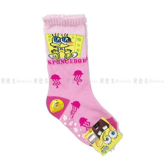 兒童長襪 海綿寶寶 長襪 英文字母 水母  粉色 9~11cm 正版授權