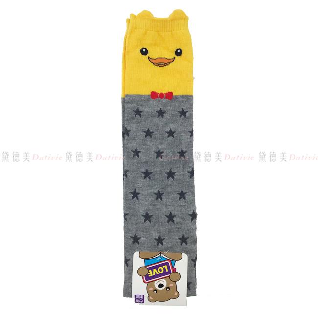 兒童襪 兒童立體半統襪 可愛小鴨 蝴蝶結 星星 黃灰色 9~12歲 (19~21cm) 正版授權