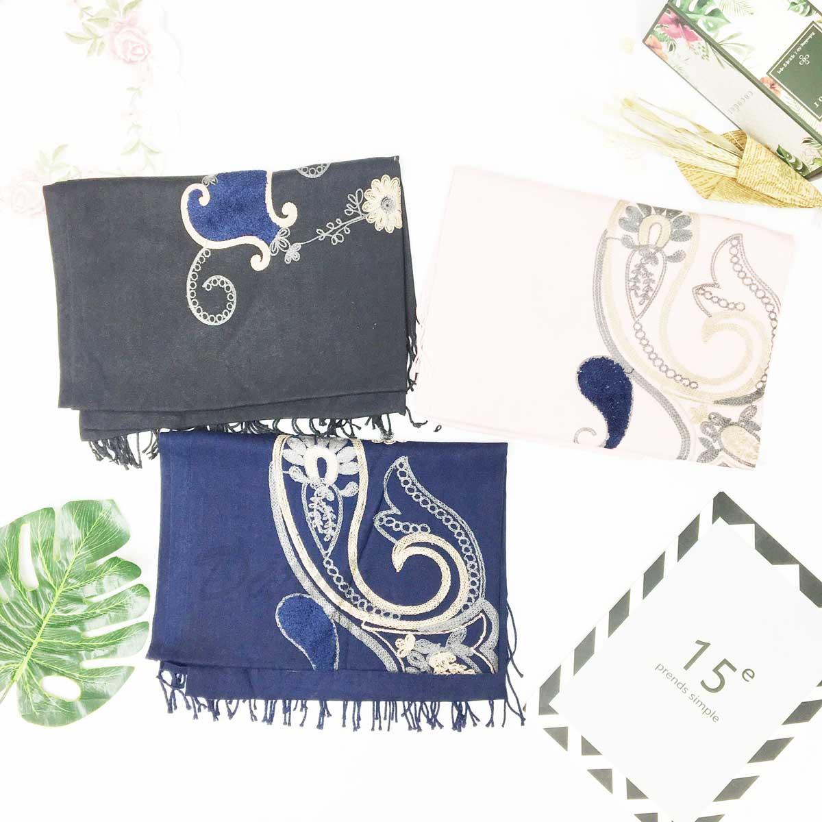 薄圍巾 刺繡 花 花瓶 圖紋 中國風 流蘇 保暖 披肩 圍巾