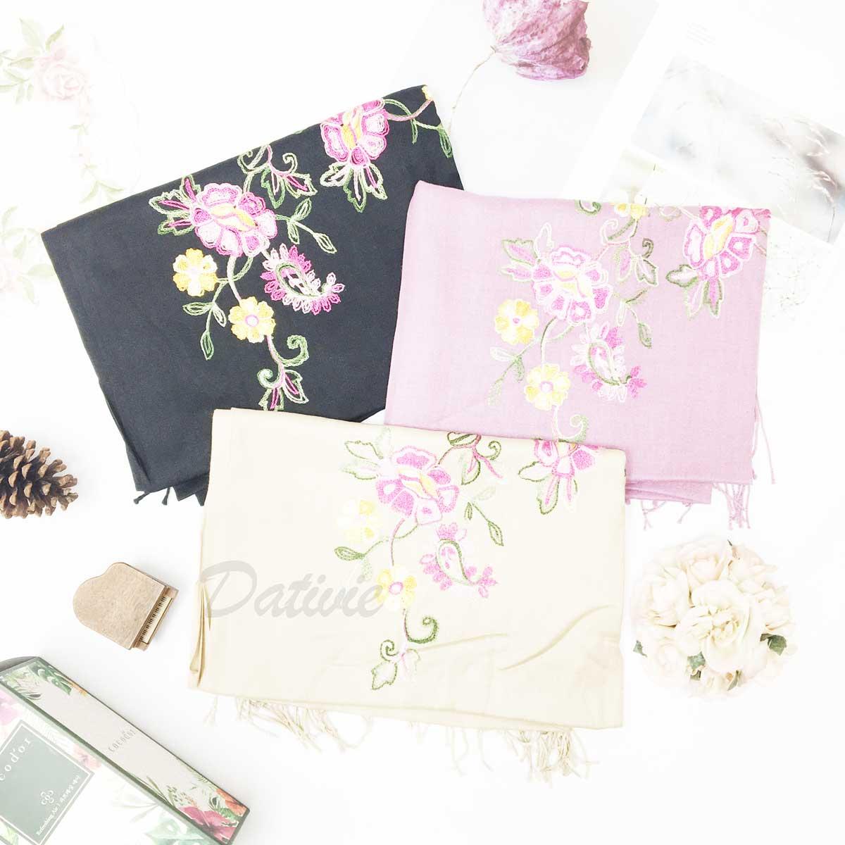 薄圍巾 刺繡 花朵 葉子 繽紛 古典 氣質 流蘇 保暖 披肩 圍巾