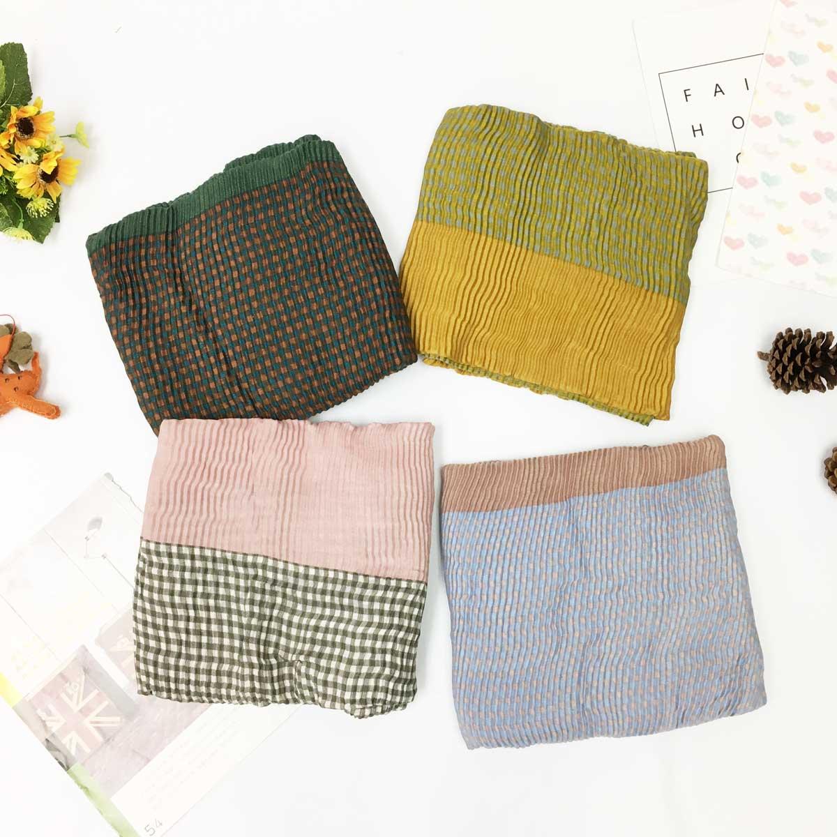 薄絲巾 格紋 拼接 雙色 基本 必備款 保暖 披肩 圍巾