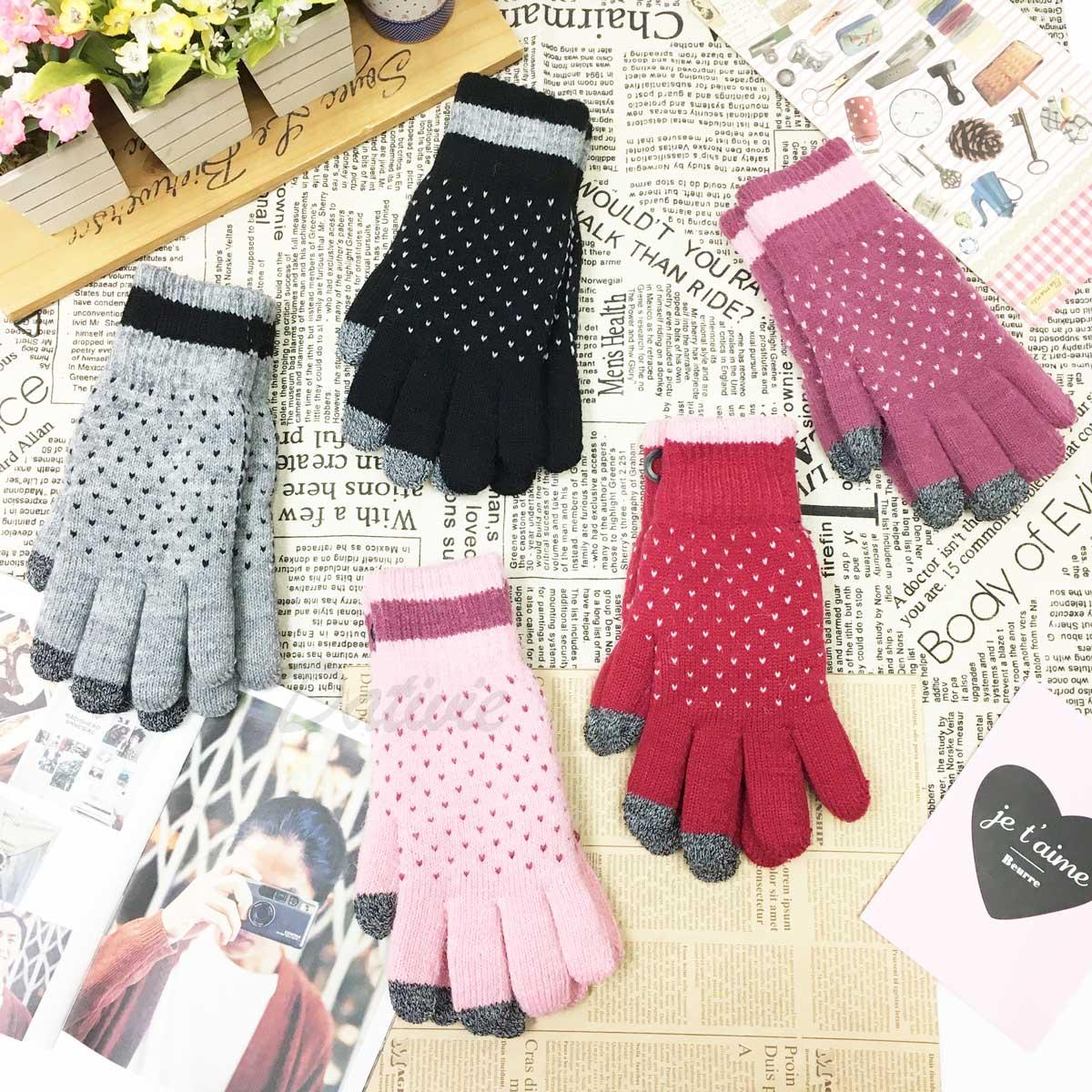 觸控手套 女款 愛心 虛線 拼接 滿版愛心 刷毛 混紡編織 保暖 紫紅 紅 麻灰 粉 黑 手套