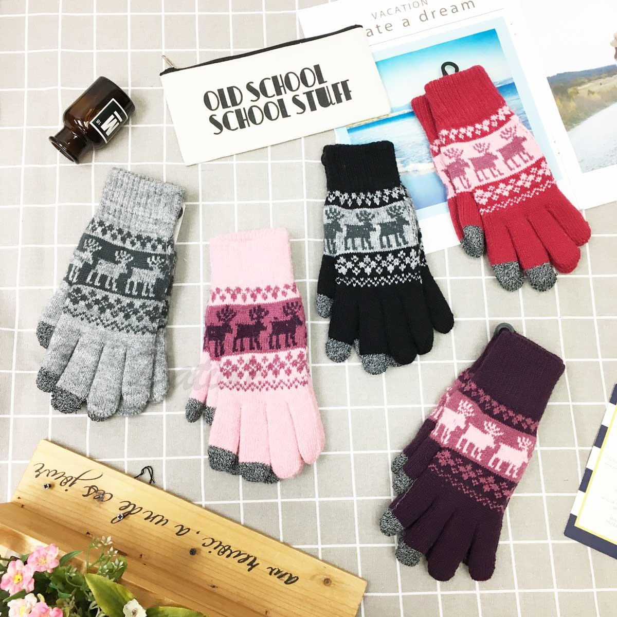 觸控手套 女款 麋鹿 線條 拼接 冬季 刷毛 混紡編織 保暖 粉 黑 紅 麻灰 深紫 手套