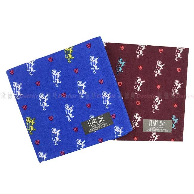 日本製 純棉 手帕 PEARL AVE 日本純棉毛巾 最高品質毛巾 小方巾 小手帕   獵獸圖 藍色 深紅色  兩款顏色 100%純棉安全又安心  正版授權 日本製造進口