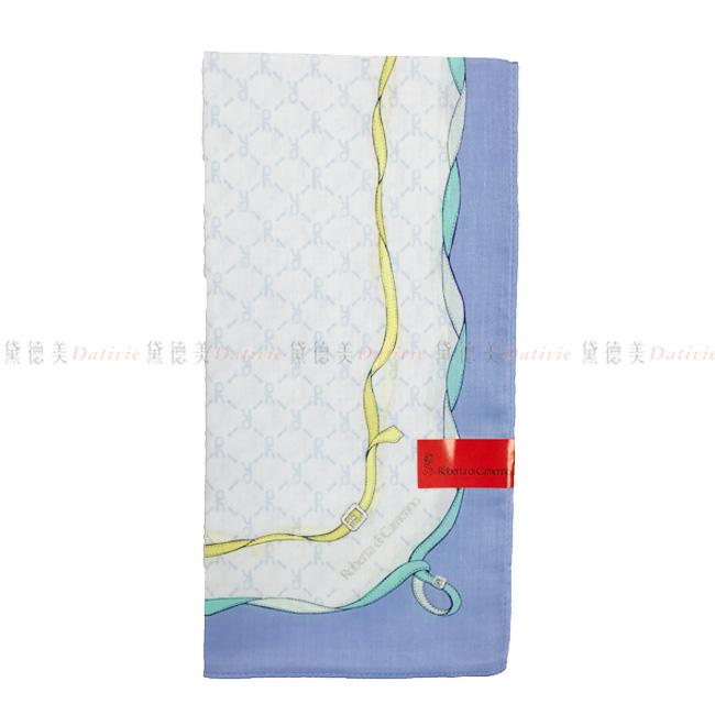日本製 純棉 手帕  Roberta di camerino 日本純棉毛巾 最高品質毛巾 方巾 手帕  圍巾  領巾 時尚  百變穿搭  經典圖樣 藍色 100%純棉安全又安心  正版授權 日本製造進口